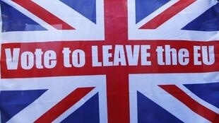 圖為英國公投脫歐贊成者競選宣傳圖案