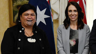 Nanaia Mahuta (L), who has a moko kauae -- a traditional Maori tattoo on the chin -- was made foreign minister by leader Jacinda Ardern (R)