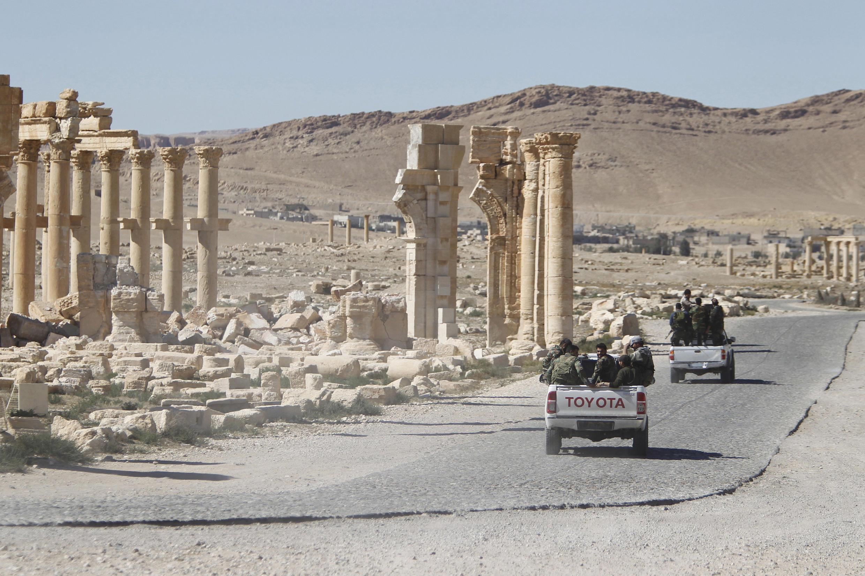 Sehemu ya magofu kwenye mji wa Kihistoria wa Palmyra ambaye yameharibiwa na wapiganaji wa IS nchini Syria.