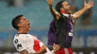 Enzo Perez (River Plate) fête la victoire contre le Brésil, le 30 octobre 2018.