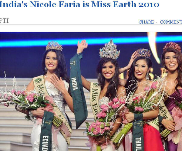 Báo chí Ấn Độ đưa tin và ảnh về Hoa hậu Trái Đất 2010 Nicole Faria