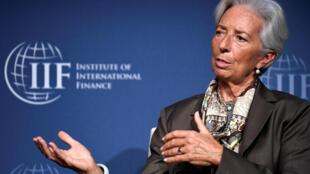 ប្រធានFMIលោកស្រី Christine Lagarde នៅក្នុងវេទិកានិយាយពីក្រុមប្រទេសG២០រៀបចំដោយវិទ្យាស្ថានហិរញ្ញវត្ថុអន្តរជាតិនៅទីក្រុងវ៉ាស៊ីនតោន នៅថ្ងៃទី ១១តុលា២០១៧