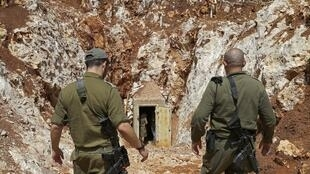 Une photo prise le 3 juin 2019 lors d'une visite guidée avec l'armée israélienne montre l'entrée d'un tunnel du côté israélien de la frontière avec le Liban.