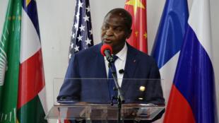 Le président Faustin Archange Touadéra, lors de la cérémonie de commémoration du deuxième anniversaire de l'APPR, au Palais de la renaissance à Bangui, le 6 février 2021.