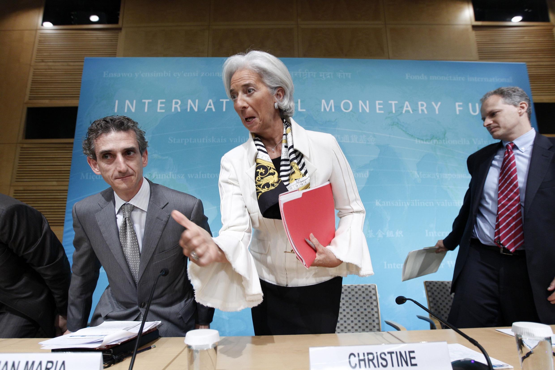 A diretora do FMI Christine Lagarde em uma coletiva de imprensa nos Estados Unidos