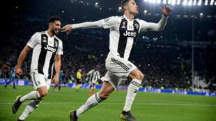 Cristiano Ronaldo célèbre son troisième but avec la Juventus contre l'Atlético de Madrid.