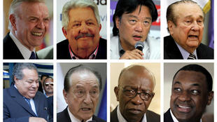 Ocho de los nueve dirigentes de la FIFA detenidos. Arriba, de izquierda a derecha: Jose Maria Marin, Rafael Esquivel, Eduardo Li, Nicolas Leoz. Abajo: Julio Rocha, Eugenio Figueredo, Jack Warner, Jeffery Webb.