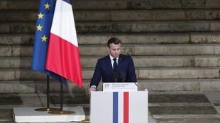 Rais wa Ufaransa Emmanuel Macron wakati wa hafla ya kitaifa ya kuuga mwili wa Samuel Paty, huko Sorbonne, Oktoba 21, 2020.