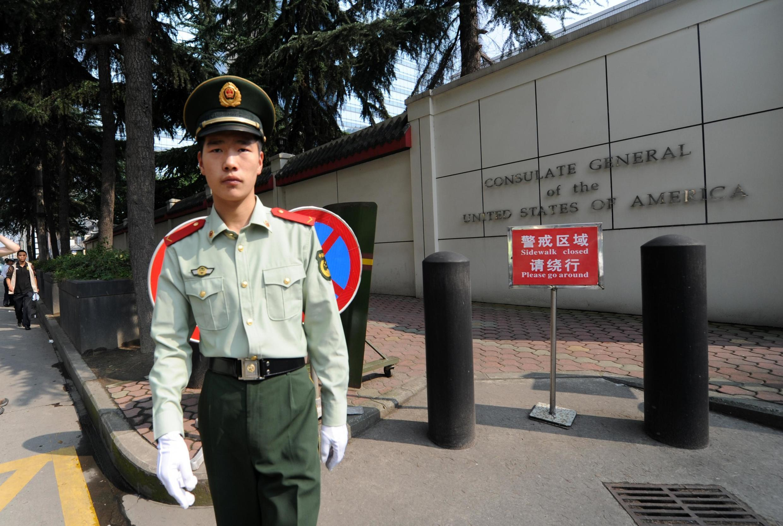 L'entrée du consulat de la ville chinoise de Chengdu, dans le Sichuan, le 23 juillet 2020.