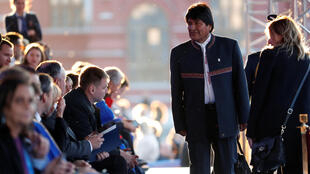 El presidente boliviano, Evo Morales, asiste a un concierto de gala en vísperas de la Copa Mundial de la FIFA 2018 en Moscú.