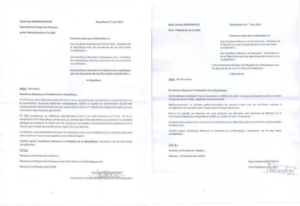 Le président de la Céni dit à RFI reconnaître l'authenticité des deux lettres de démission.
