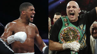 Les boxeurs britanniques Anthony Joshua (à gauche) et Tyson Fury (à droite).