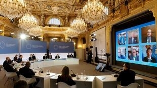 The One Planet Summit Biodiversity at The Elysee Palace in Paris, 11 January 2021. Most participants joined by video link.