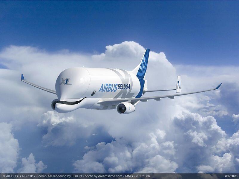 Новый транспортный самолет Beluga XL может перевозить грузы до 52 т.