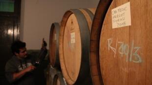Des tonneaux de vin, au siège de la Casa Tano, dans la province de Mendoza.