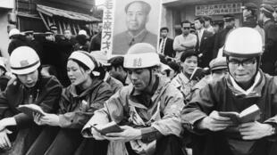 Ces jeunes Japonais qui lisent le Petit livre rouge de Mao Zedong manifestent, en juillet 1968, contre la prolongation du traité de sécurité nippo-américain.