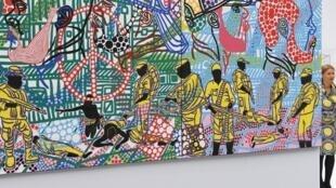 Une toile de l'artiste Boris Nzebo exposée au Grand Palais en mars 2017.