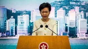 Hong Kong Chief Executive Carrie Lam speaks to the media about the new national security law introduced in the city