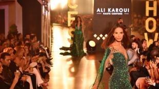 Défilé du styliste tunisien Ali Karoui lors du Casa Fashion Show le 12 octobre 2019.