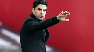 L'entraîneur espagnol d'Arsenal, Mikel Arteta, lors du match de Premier League sur le terrain de Sheffield United, le 11 avril 2021