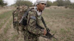 An Afghan soldier on patrol.