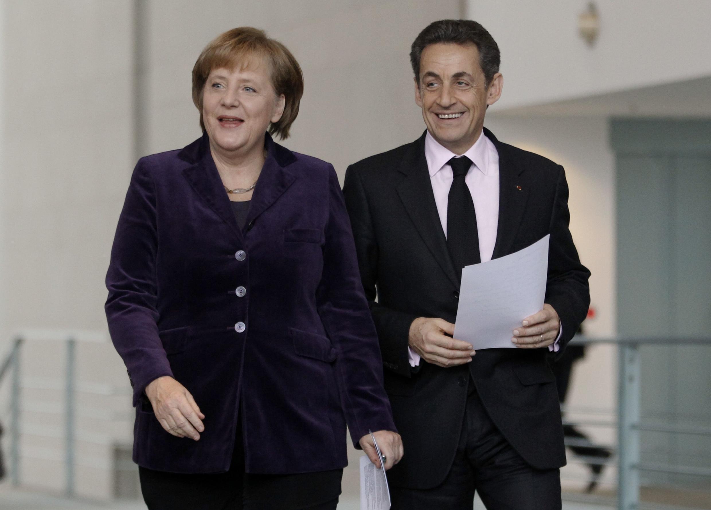 German Chancellor Angela Merkel and French President Nicolas Sarkozy in Berlin.