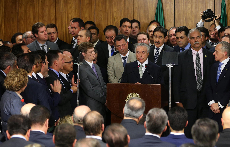 Discours du nouveau président intérimaire du Brésil, Michel Temer, le 12 mai 2016 à Brasilia.