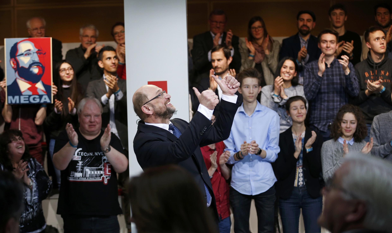 Martin Schulz, après son discours prononcé lors d'un meeting de son parti le SPD, à Berlin, le 29 janvier 2017.