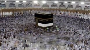 La Kaaba au coeur de la mosquée  Masjid al-Haram à La Mecque, alors que va débuter le pèlerinage, le 29 août 2017.
