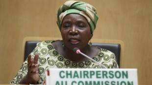 Nkosazana Dlamini-Zuma, la présidente de la Commission de l'Union africaine, au cours d'une conférence de presse pendant la cérémonie de clôture du sommet.