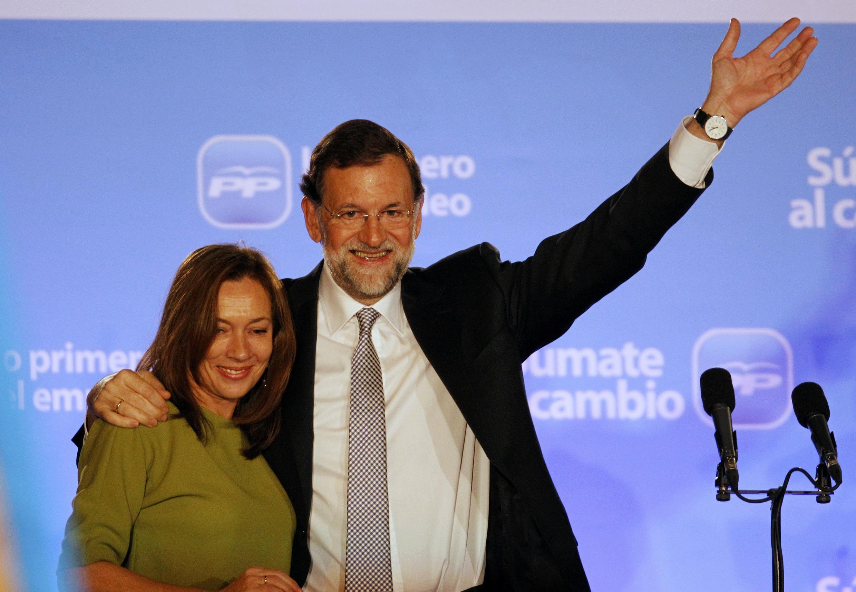 Mariano Rajoy et son épouse Elvira, le 20 novembre 2011.