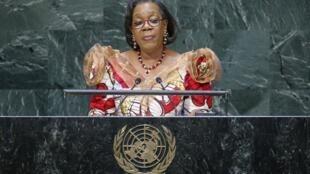 Catherine Samba-Panza, présidente de la Transition centrafricaine, le 27 septembre 2014 à la 69e Assemblée générale des Nations Unies à New York.