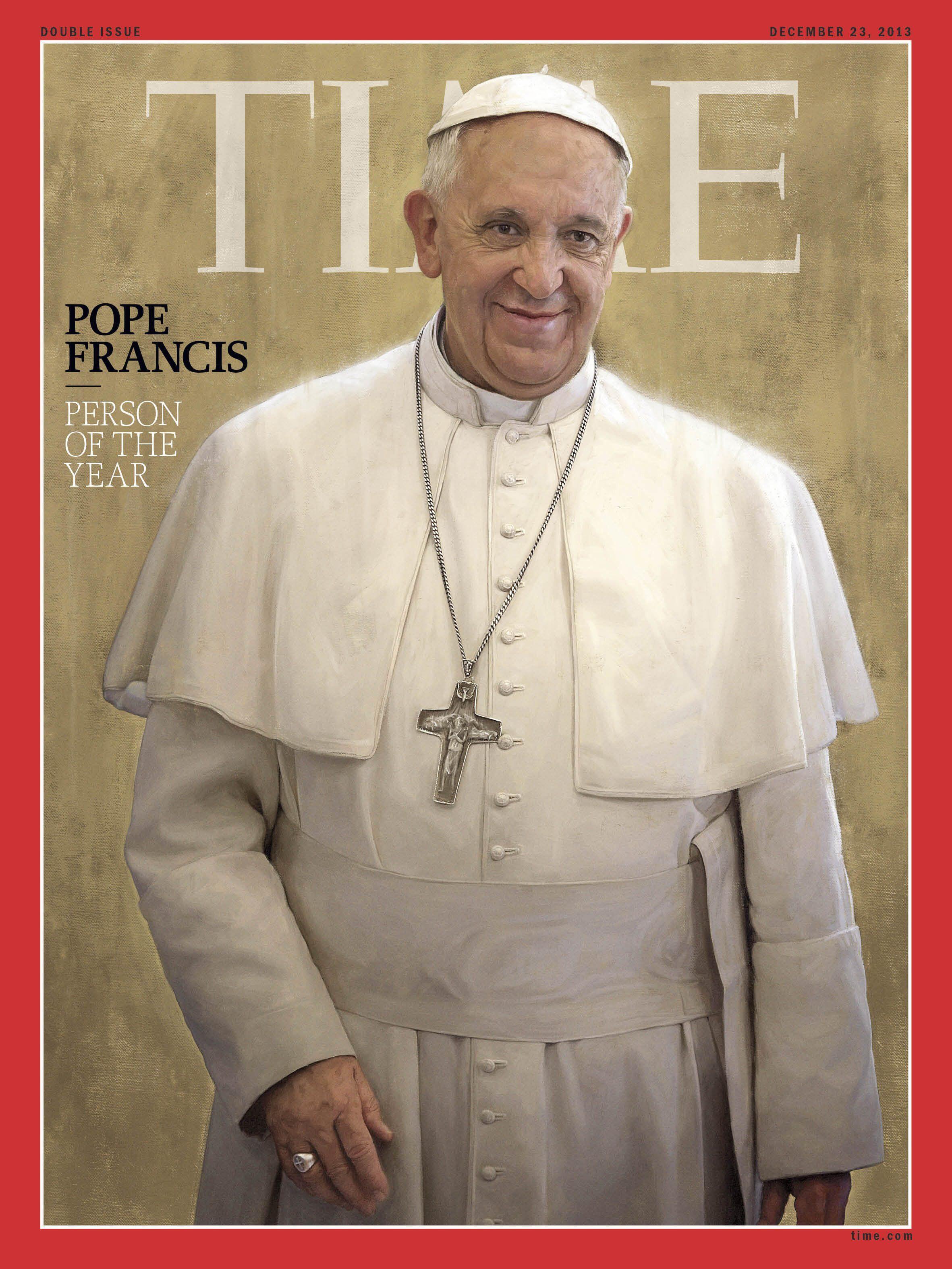 """Đức Giáo hoàng Phanxicô, """"Nhân vật của năm 2013"""" trên trang bìa tạp chí Time ngày 11/12/2013."""