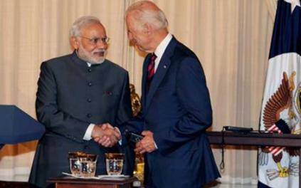 印度總理莫迪與美國總統拜登資料圖片