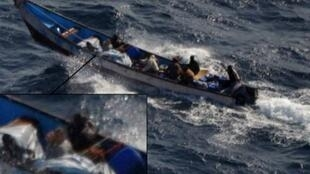 A pirate skiff carrying a French hostage, before it was boarded by the Spanish navy in September 2011.