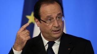 President François Hollande addresses diplomats on Monday