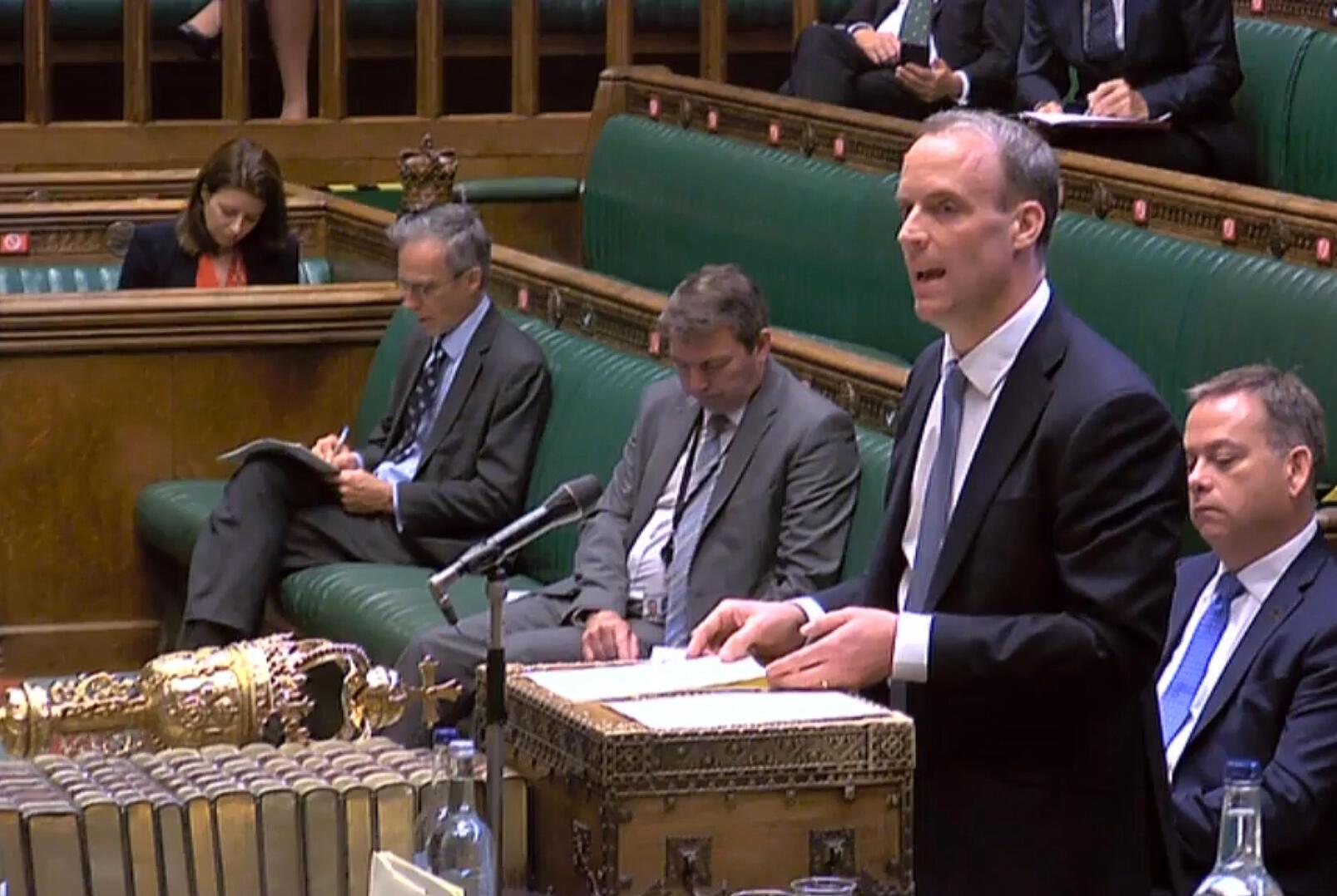 El ministro británico de Asuntos Exteriores, Dominic Raab, en una captura de video durante su declaración en el Parlamento, el 20 de julio de 2020
