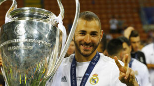 Karim Benzema with Real Madrid last month
