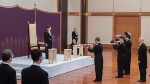 Tân hoàng đế Nhật Naruhito trong lễ đăng quang tại hoàng cung, Tokyo ngày 01/05/2019.