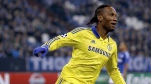 Didier Drogba (Chelsea), buteur face à Schalke, le 25 novembre 2014.