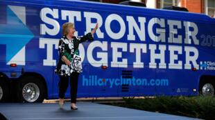 A candidata democrata à Casa Branca, Hillary Clinton, durante campanha em Ohio, Estados Unidos, neste domingo, 31 de julho.