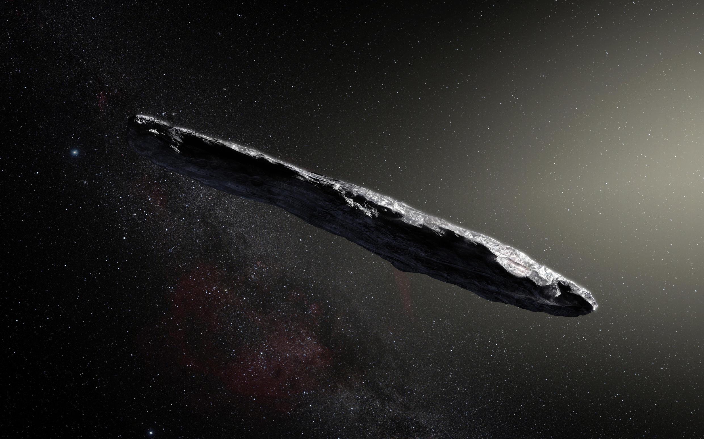 Un dibujo del bólido Oumuamua publicado por un observatorio europeo publicado en noviembre de 2017