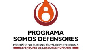 Logo de la asociación colombiana 'Somos Defensores', conformada por la Asociación Minga, la Comisión Colombiana de Juristas y Benposta Nación de Muchachos.