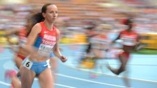 La Russe Mariya Savinova lors de la finale du 800 mètres, aux Mondiaux 2013.