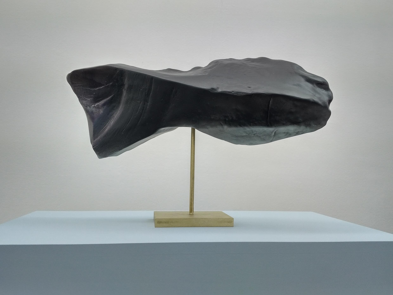 """Réplica en bronce, creada por Jimmie Durhan, de un silex en forma de pez trabajado por el hombre hace millones de años. """"Lo reproduje grande para que se vea lo bien que traajaban en esa época"""", explica el artista."""