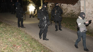 French anti-terror police on a raid on suspected members of the Basque nationalist group Eta in Louhossoa, near Bayonne in 2016