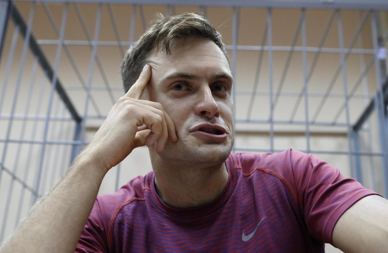 Петр Верзилов на суде после акции во время финала чемпионата мира по футболу