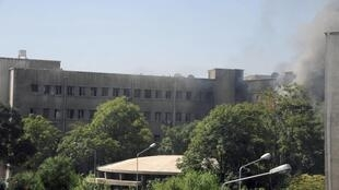Дым после взрыва у здания генштаба сирийской армии. Дамаск 26/09/2012