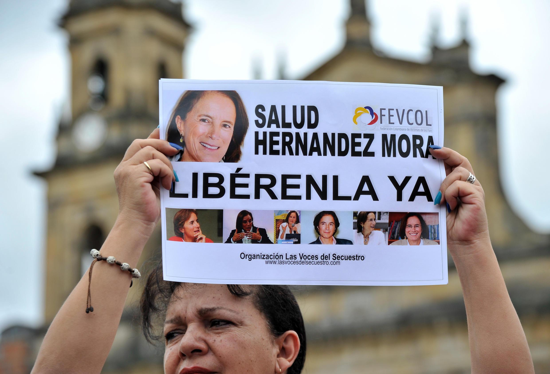 Manifestación en Bogotá para exigir la liberación de l Salud Hernández-Mora,el 25 de mayo de 2016.