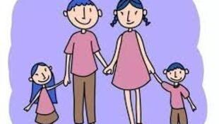 圖為中國鼓勵一對夫婦兩個孩子新政策宣傳漫畫